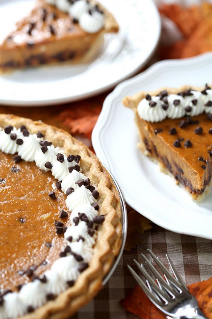 27 Pumpkin Pie Recipes - Chocolate Chip Pumpkin Pie.