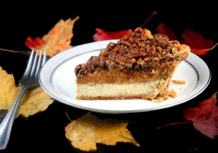 27 Pumpkin Pie Recipes - Three Pies in One – Cheesecake Pumpkin Pecan Pie.
