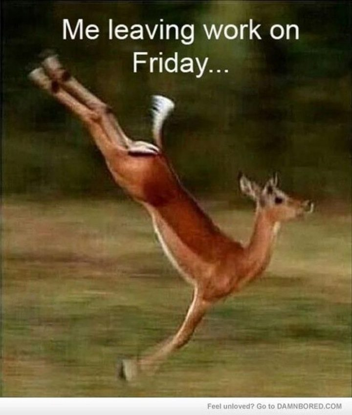 "30 Friday Work Memes - ""Me leaving work on a Friday."""
