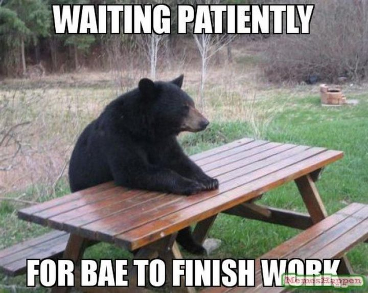 "30 Friday Work Memes - ""Waiting patiently for bae to finish work."""