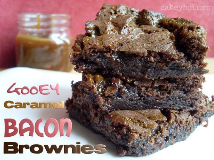 7 easy brownie recipes - Gooey Caramel Bacon Brownies.