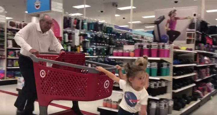 Mila and Emma Hit Target for Back to School Shopping with Grandpa.