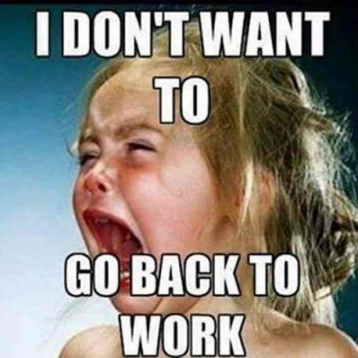 "21 Back to Work Memes - ""I don't want to go back to work."""