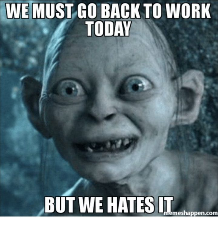 "21 Back to Work Memes - ""We must go back to work today but we hates it."""
