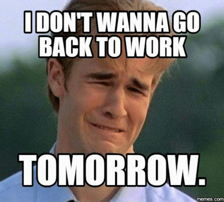 "21 Back to Work Memes - ""I don't wanna go back to work tomorrow."""