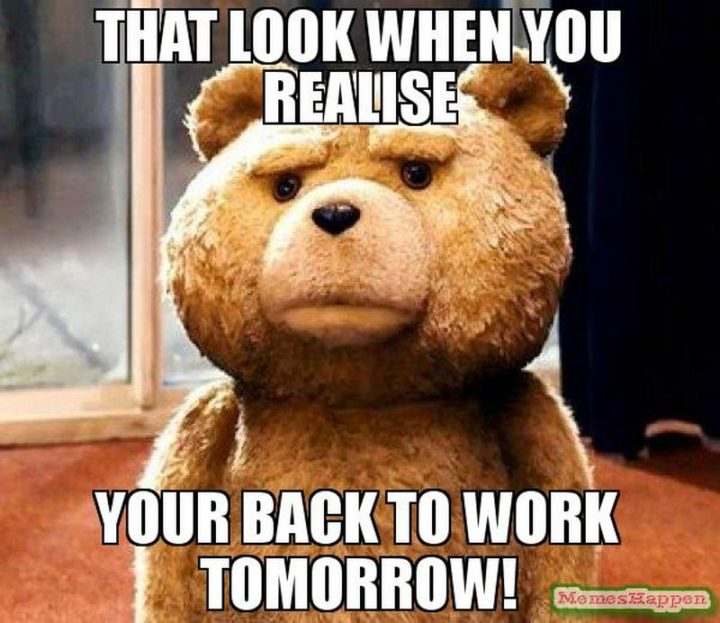"21 Back to Work Memes - ""That look when you realize you're back to work tomorrow!"""