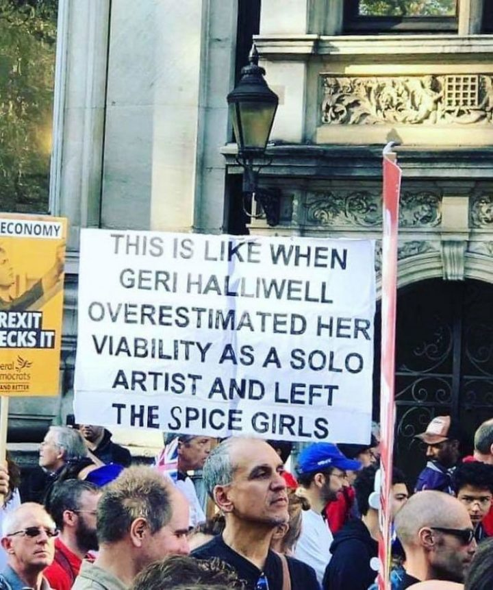 "23 Funny Anti-Brexit Signs - ""This is like when Geri Halliwell overestimated her viability as a solo artist and left the Spice Girls."""