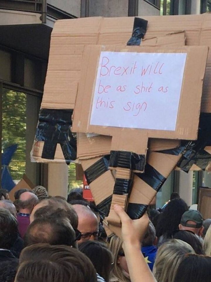 "23 Funny Anti-Brexit Signs - ""Brexit will be as s**t as this sign."""