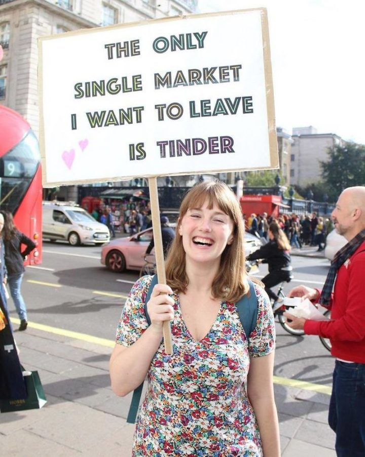 "23 Funny Anti-Brexit Signs - ""The only single market I want to leave is Tinder."""
