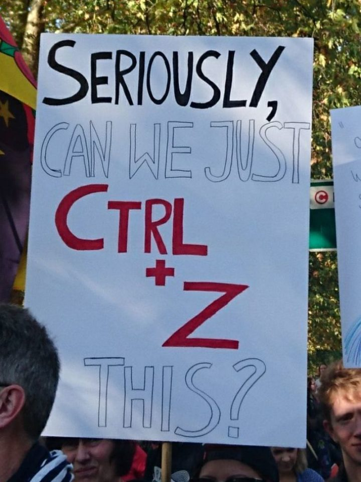 "23 Funny Anti-Brexit Signs - ""Seriously, can we just CTRL + Z this?"""