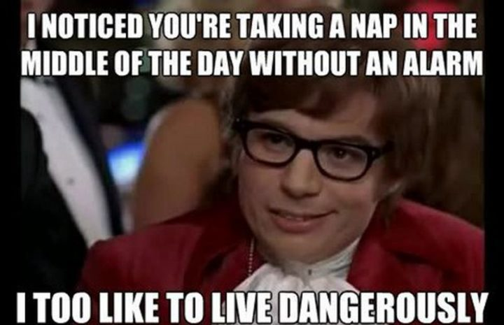 "37 Best Exhausted Memes - ""I noticed you're taking a nap in the middle of the day without an alarm. I too like to live dangerously."""