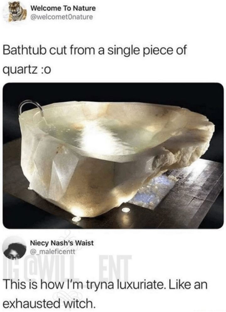 "37 Best Exhausted Memes - ""Bathtub cut from a single piece of quartz. This is how I'm tryna luxuriate. Like an exhausted witch."""