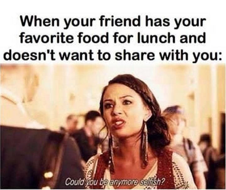 "37 Funny Food Memes - ""When your friend has your favorite food for lunch and doesn't want to share with you: Could you be any more selfish."""