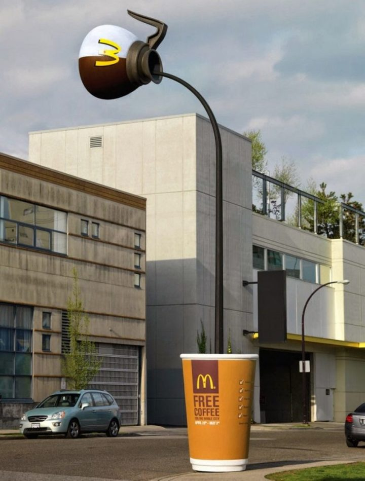 27 Awesome Billboards - For their coffee campaign, McDonald's offered free coffee to its customers and lit up the streets with these custom street lights.