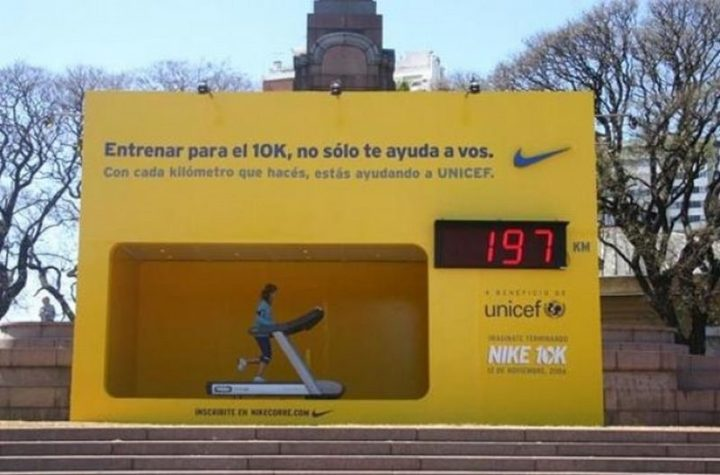 27 Awesome Billboards - Nike's innovative billboard contains a treadmill that lets anyone walk and contribute to UNICEF. For each kilometer, Nike donates money to the charity.