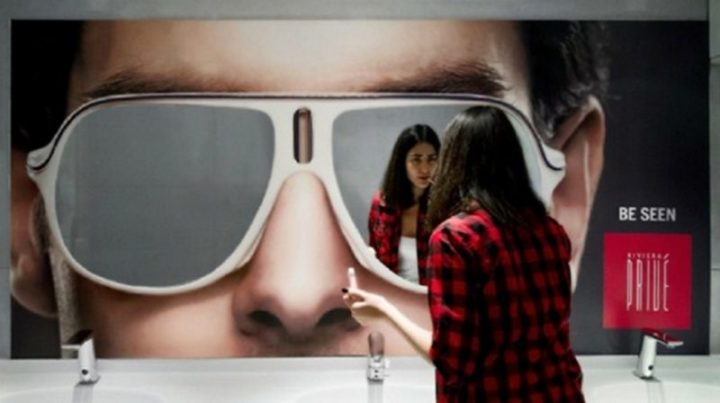 "27 Awesome Billboards - Privé updated their bathroom mirrors with the slogan ""Be Seen"" to promote their new lounge zone, 'Riviera Privé'."