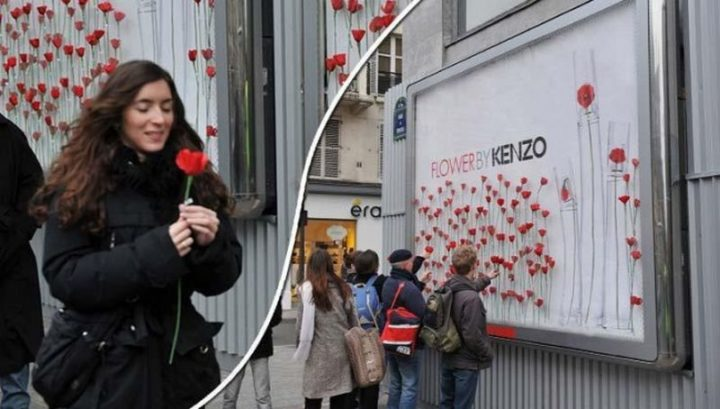 27 Awesome Billboards - Kenzo's billboard offered free flowers to pedestrians.