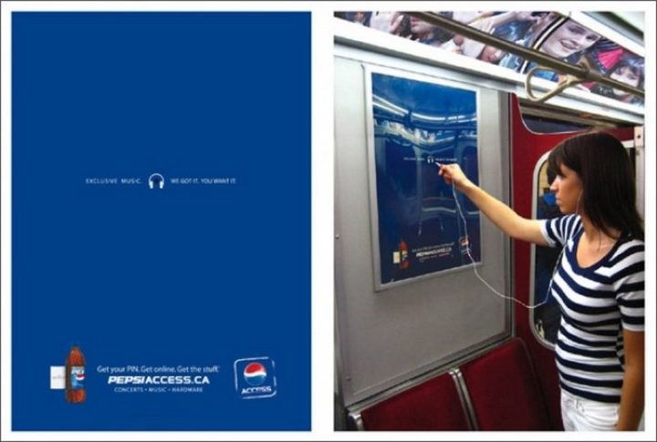 27 Awesome Billboards - Pepsi lets bored Subway passengers enjoy free music during their commute.