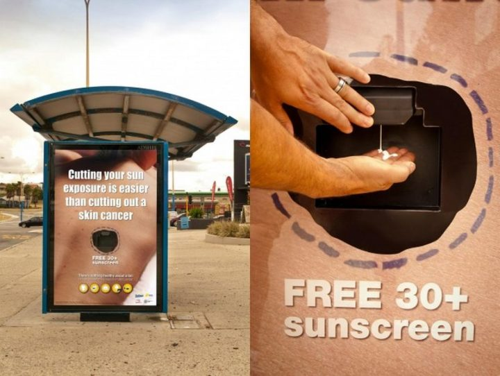27 Awesome Billboards - Cooch Creative's billboard provides free sunscreen to raise awareness about the effects of sun exposure and skin cancer.