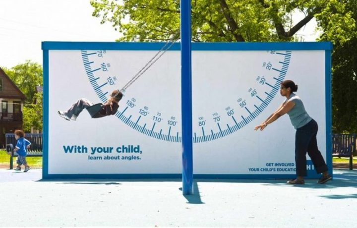 27 Awesome Billboards - With the goal of getting kids interested in math, this clever advertisement by COA Youth & Family Centers introduces angles to children and adults visiting the park.