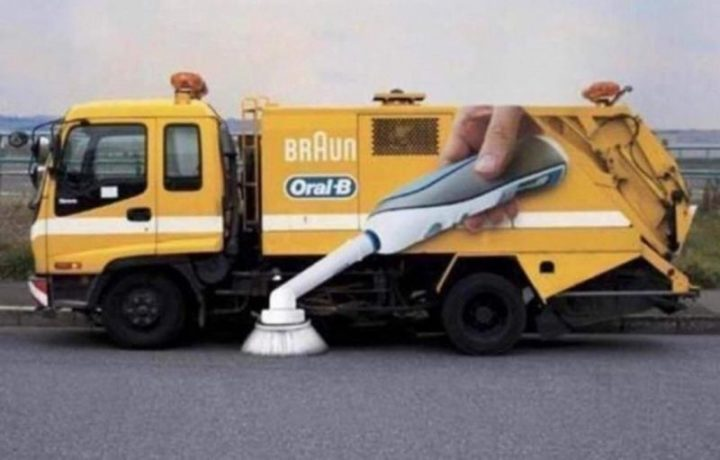 27 Awesome Billboards - This Braun Oral-B Toothbrush advertisement on a street sweeper.