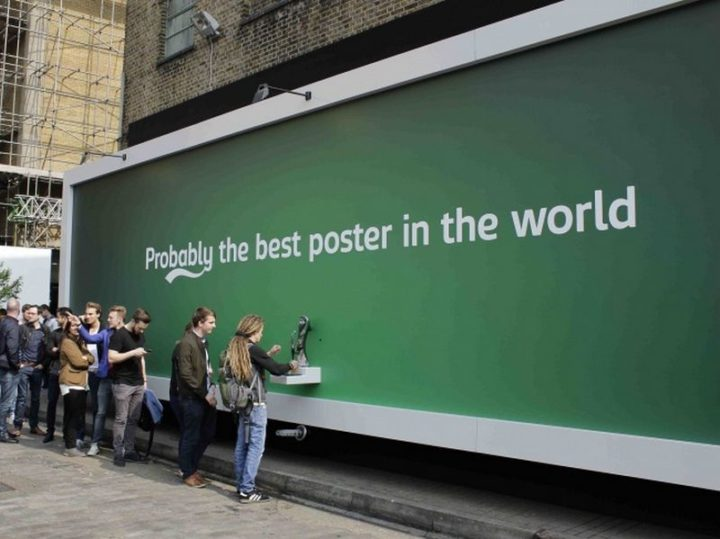 27 Awesome Billboards - Carlsberg lets people pour their own pint and sample their beer with their clever billboard.