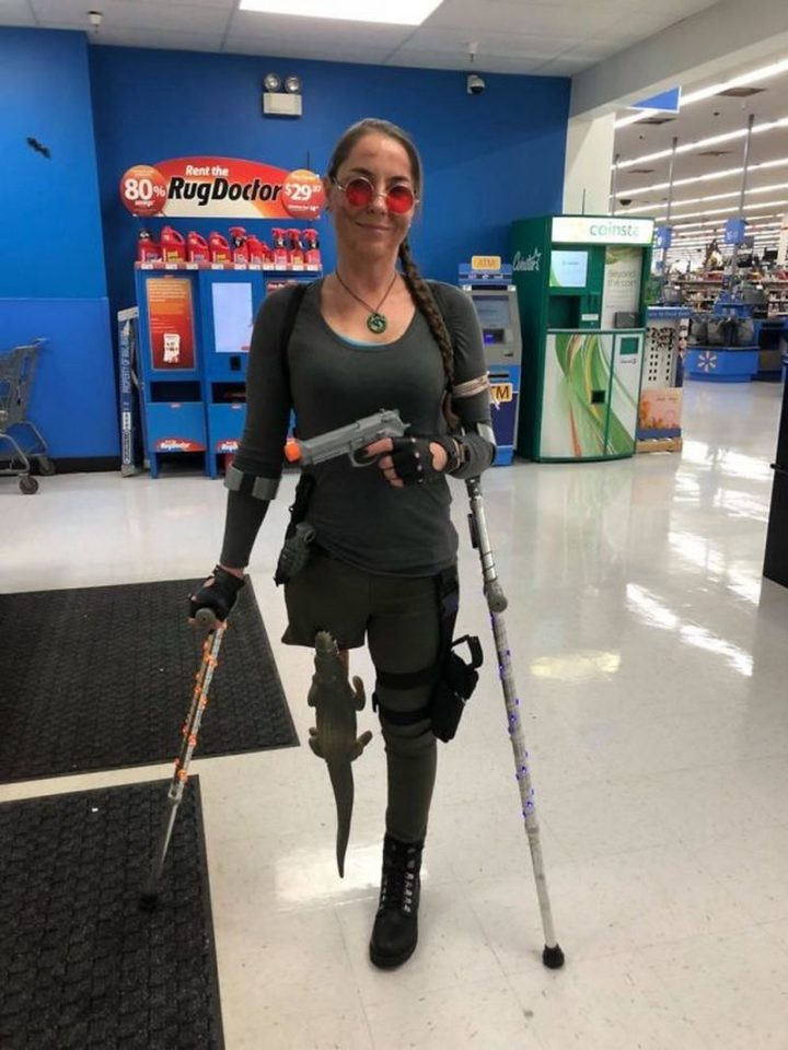 "49 Halloween Costume Ideas - ""A little late but my wife dressed up as Lara Croft for Halloween. She's an amputee so she improvised."""