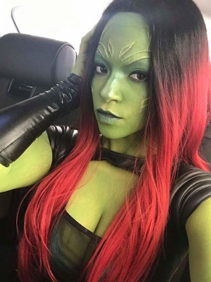 "49 Halloween Costume Ideas - ""My friend dressed up as Gamora from 'Guardians of the Galaxy'."""