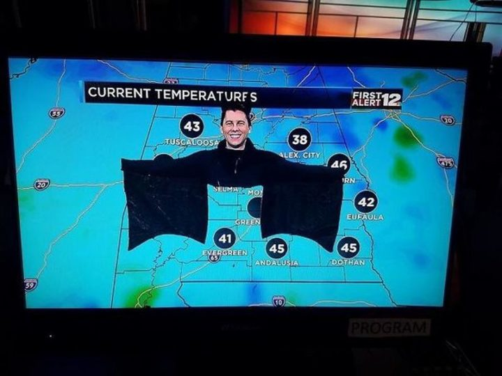 "49 Halloween Costume Ideas - ""My local weatherman dressed as a bat for Halloween."""