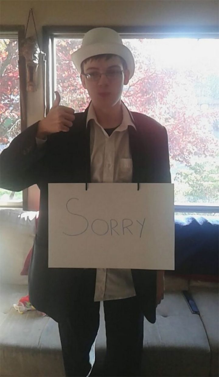 "49 Halloween Costume Ideas - ""My little brother has autism, he thinks a little differently than the rest of us. This year he decided to be a formal apology."""