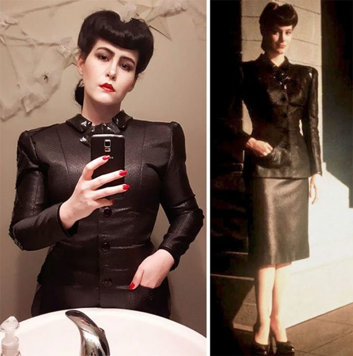 "49 Halloween Costume Ideas - ""I figured this year was perfect to finally become my favorite Blade Runner replicant, Rachael. I used six shoulder pads and a sheet of plastic canvas to get the jacket's iconic shape."""