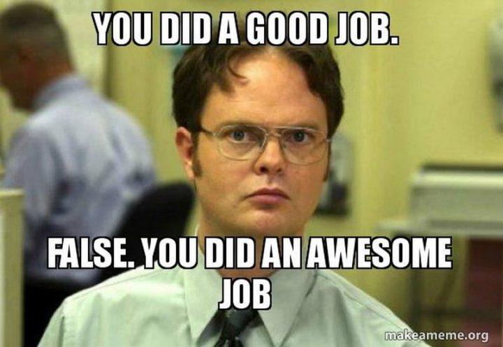 """23 Great Job Memes - """"You did a good job. False. You did an awesome job."""""""