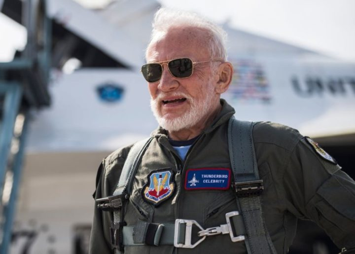 Retired Air Force Col. and astronaut Buzz Aldrin poses for a photo before his flight with the United States Air Force Thunderbirds, April 2, 2017, at Melbourne, Fla.(U.S. Air Force Photo by Staff Sgt. Jason Couillard)