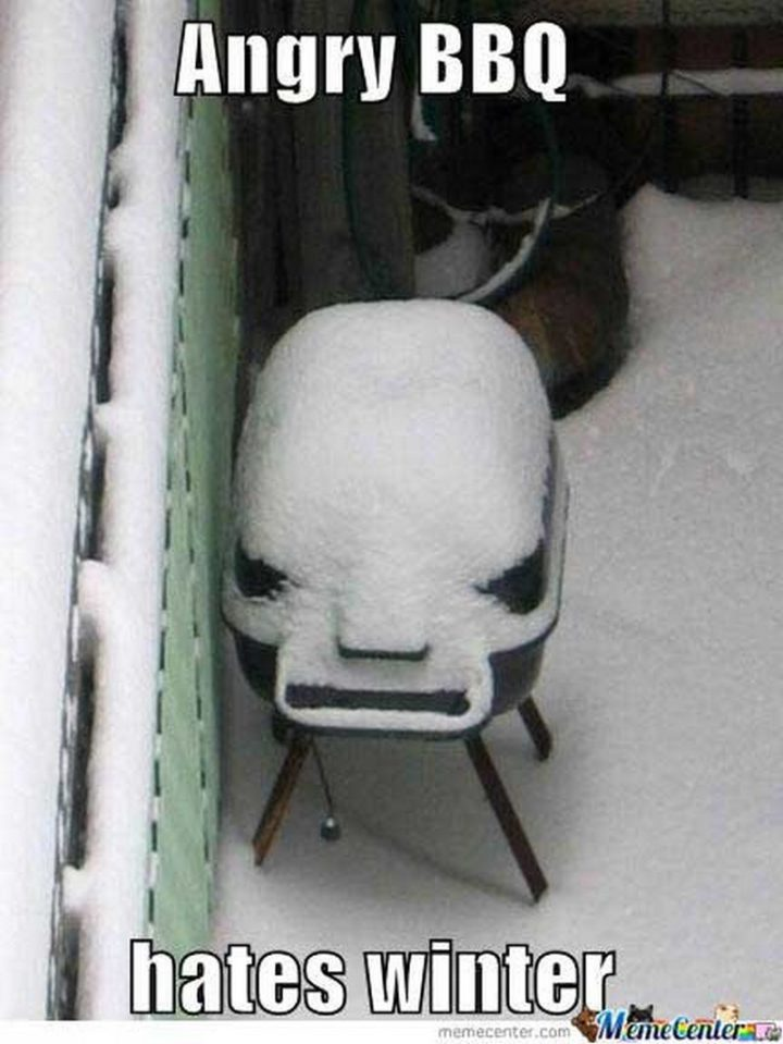 """55 Funny Winter Memes - """"Angry BBQ hates winter."""""""