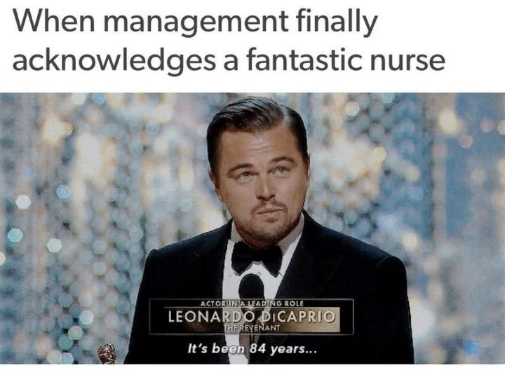 "101 Funny Nursing Memes - ""When management finally acknowledges a fantastic nurse. It's been 84 years..."""