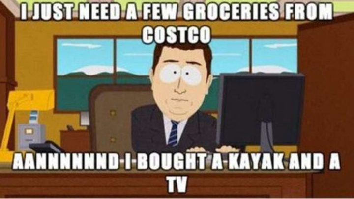 """29 Funny Costco Memes - """"I just need a few groceries from Costco. Aannnnnnd, I bought a kayak and a TV."""""""