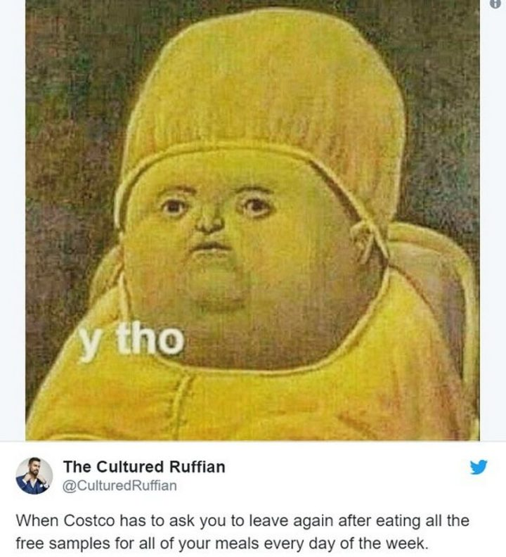 """29 Funny Costco Memes - """"When Costco has to ask you to leave again after eating all the free samples for all of your meals every day of the week."""""""