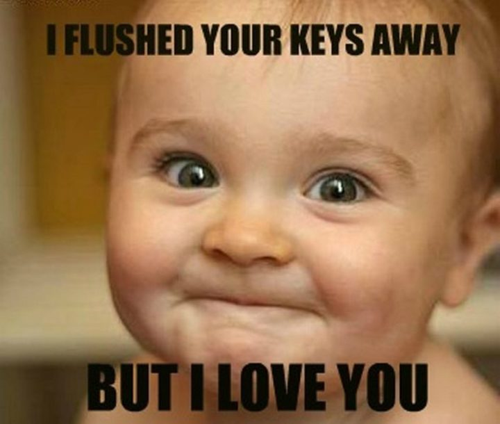 "101 I Love You Memes - ""I flushed your keys away but I love you."""