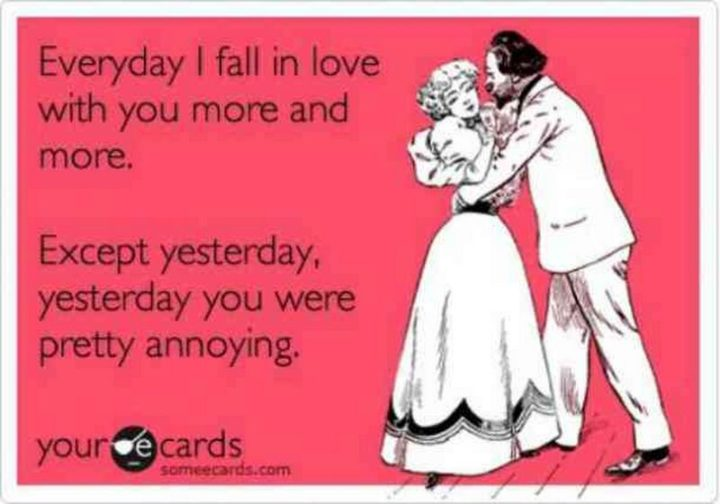 "101 I Love You Memes - ""Everyday I fall in love with you more and more. Except yesterday, yesterday you pretty annoying."""