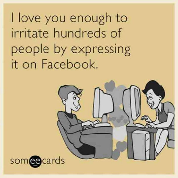 "101 I Love You Memes - ""I love you enough to irritate hundreds of people by expressing it on Facebook."""