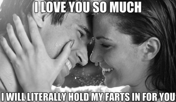 "101 I Love You Memes - ""I love you so much I will literally hold my farts in for you."""