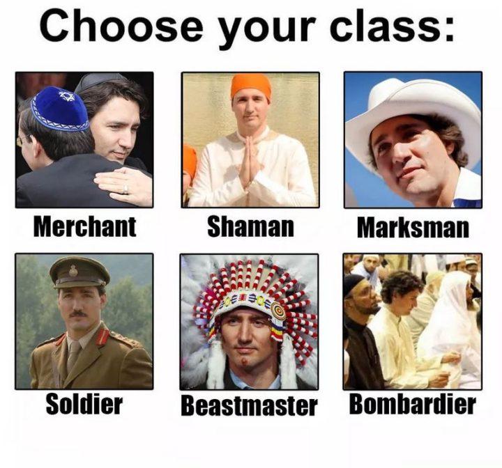 "51 Best Justin Trudeau Memes - ""Choose your class: Merchant, Shaman, Marksman, Soldier, Beastmaster, Bombardier."""