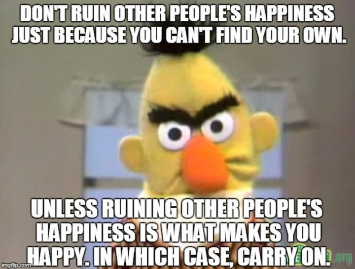 "85 Happy Memes - ""Don't ruin other people's happiness just because you can't find your own. Unless ruining other people's happiness is what make you happy. In which case, carry on."