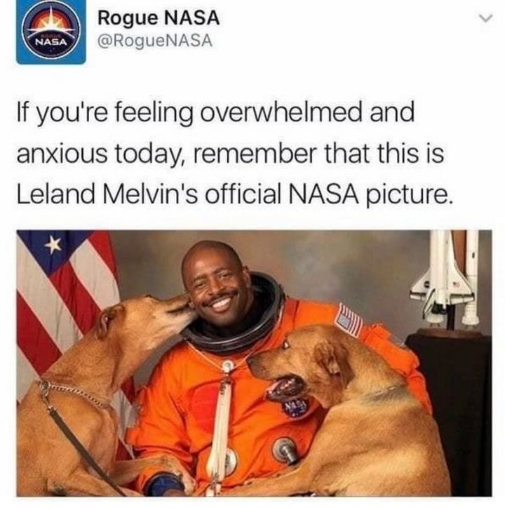 "85 Happy Memes - ""If you're feeling overwhelmed and anxious today, remember that this is Leland Melvin's official NASA picture."""
