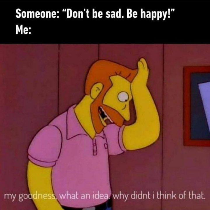 "85 Happy Memes - ""Someone: 'Don't be sad, be happy!' Me: My goodness. What an idea. Why didn't I think of that."""