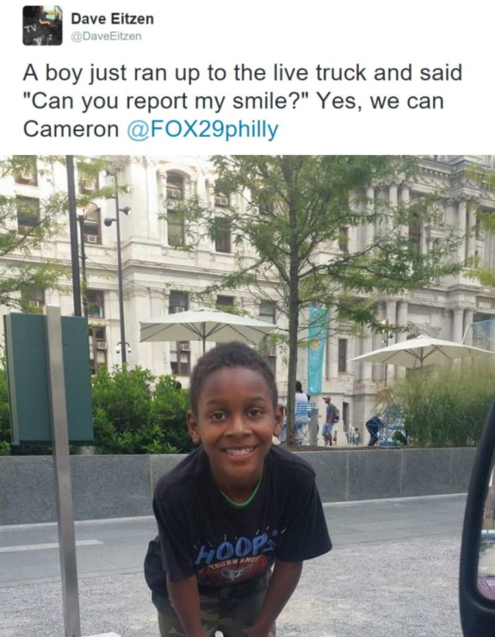 "85 Happy Memes - ""A boy just ran up to the live truck and said 'Can you report my smile?' Yes, we can Cameron."""