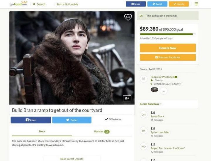 "91 Game of Thrones Memes - ""Build Bran a ramp to get out of the courtyard."""