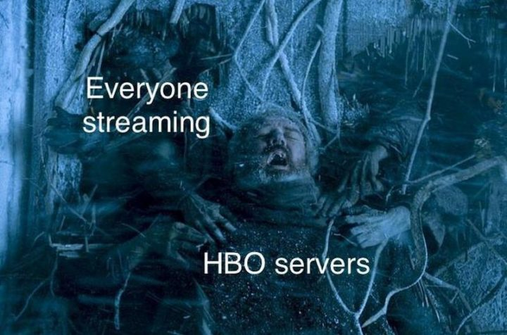 "91 Game of Thrones Memes - ""Everyone streaming. HBO servers."""