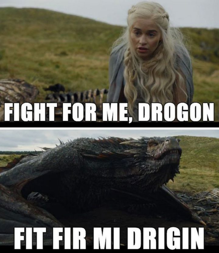 "91 Game of Thrones Memes - ""Fight for me, Drogon. Fit fir mi drigin."""