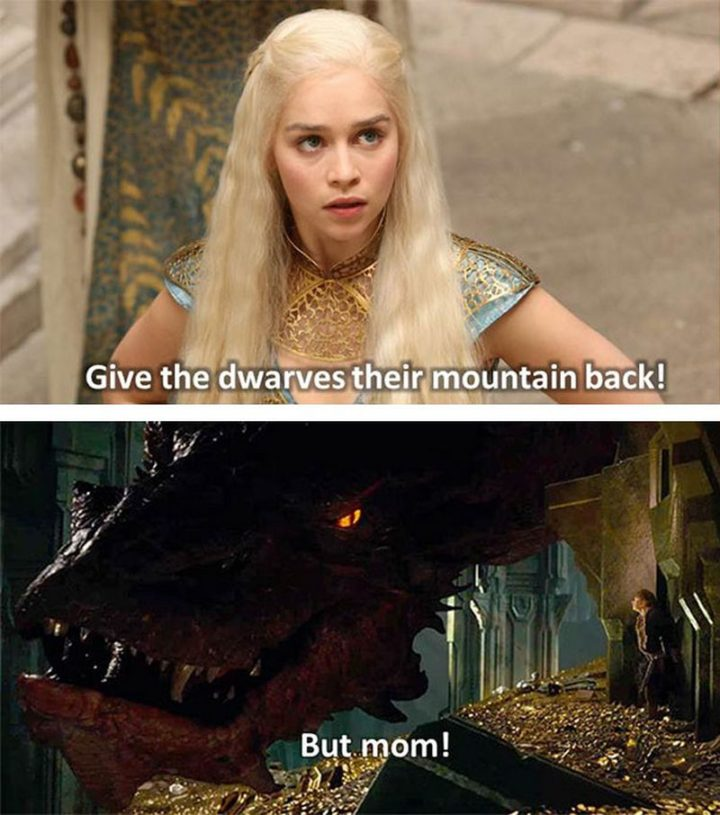 "91 Game of Thrones Memes - ""Give the dwarves their mountain back! But mom!"""